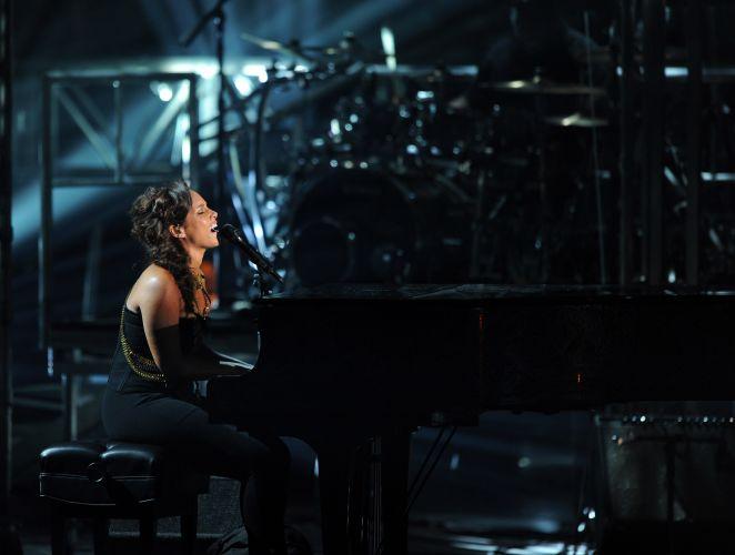 A cantora e pianista Alicia Keys durante apresentação no BET Awards, em Los Angeles; premiação aconteceu no auditório Shrine (26/6/11)