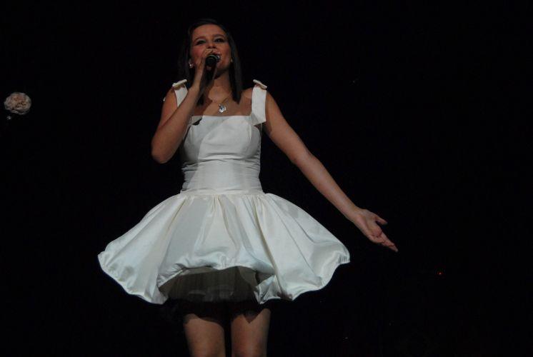 Dulce María durante show em São Paulo, com a divulgação do disco solo