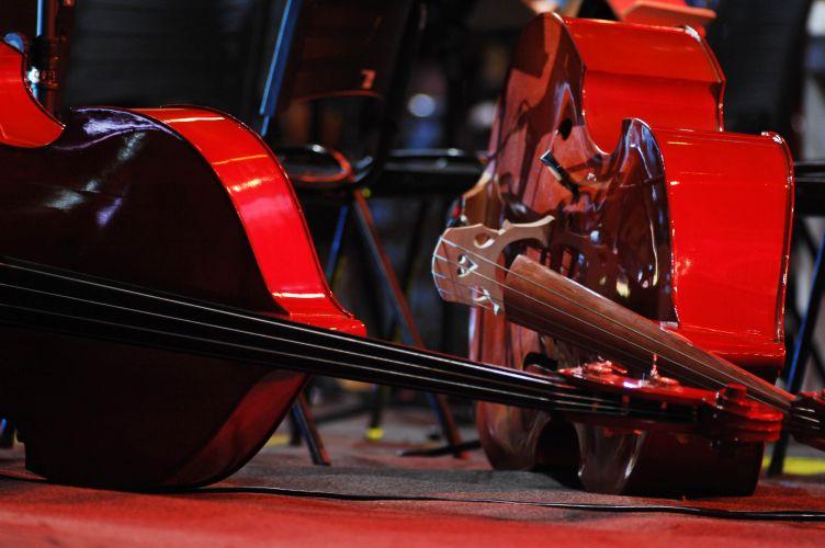 Detalhe dos instrumentos da orquestra regida pelo maestro João Carlos Marins, que tocou com Chitãozinho e Xororó em Barretos (20/8/11)