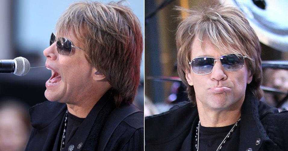 O cantor deixa baba no microfone enquanto se apresenta no programa NBC Today Show, em Nova York (12/11/10)