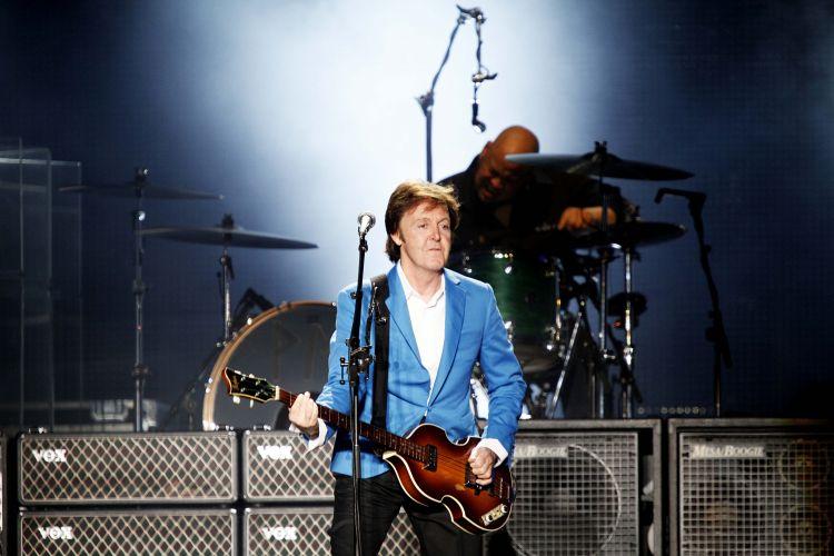 Paul McCartney durante apresentação em São Paulo para mostrar a turnê