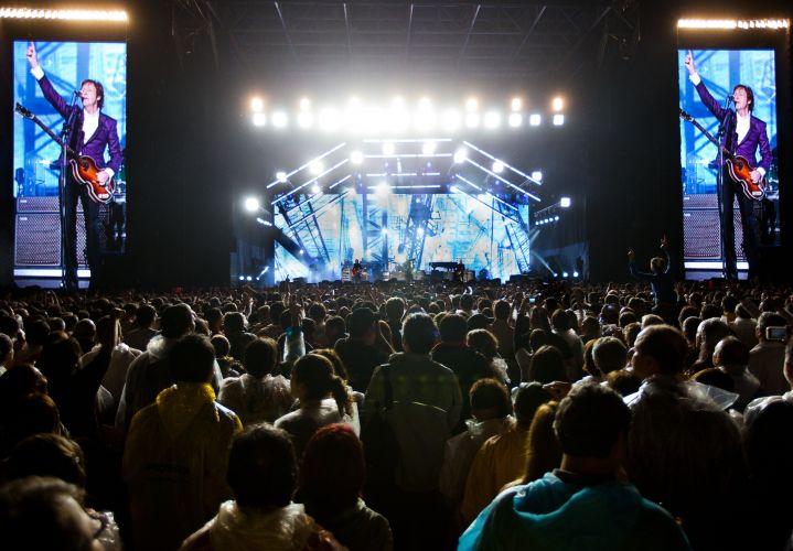 O palco onde está Paul McCartney tem 26 metros de altura, o equivalente a um prédio de oito andares. Dois painéis de LED de 15x7,5 metros foram instalados nas laterais, além de um outro painel de 22 metros de largura ao fundo do palco (22/11/2010)