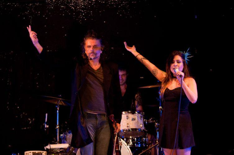 Hique Gomez e Pitty no show da cantora para gravação de DVD, no Circo Voador, Rio de Janeiro
