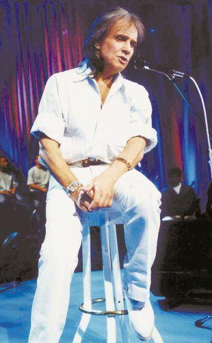 O cantor Roberto Carlos durante ensaio do programa