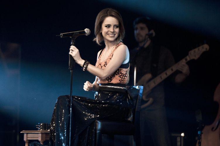 A cantora Sandy em gravação do DVD de sua primeira turnê solo,