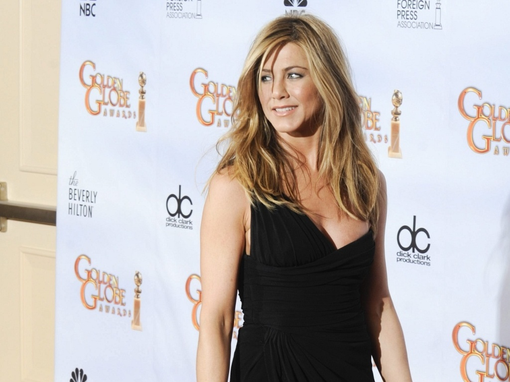 Jennifer Aniston na sala de imprensa do Globo de Ouro 2010 (17/1/2010)