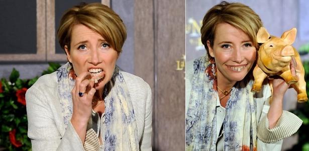 A atriz Emma Thompson coloca os dentes falsos da sua personagem Nanny McPhee na divulgação do filme