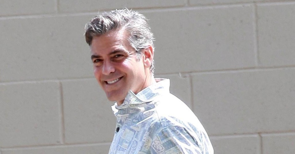 O ator George Clooney no set de 