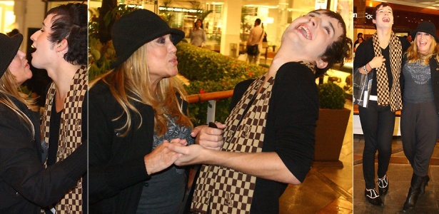 A atriz Susana Vieira e o ex-bbb Serginho se divertem durante encontro em shopping do Rio de Janeiro (8/4/2010)