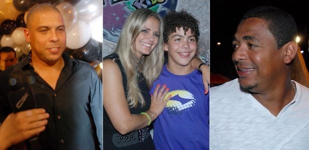 O jogador Ronaldo, a ex-mulher Milene Domingues, o filho Ronald, e o ex-jogador Vampeta no aniversário de Ronald em buffet em São Paulo (8/4/2010)