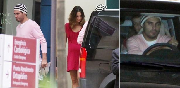 O ator Thiago Lacerda busca a mulher Vanessa Lóes e a filha do casal em maternidade do Rio (11/4/2010). A atriz deu à luz na sexta-feira (9)