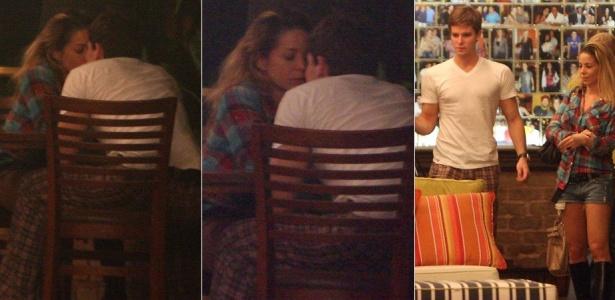 Danielle Winits e Jonatas Faro se beijam em restaurante na Barra da Tijuca, no Rio de Janeiro (13/4/2010)