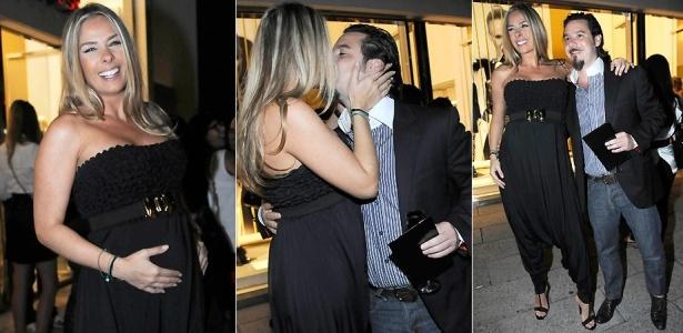 Grávida de seis meses, a apresentadora Adriane Galisteu vai a evento da Iódice e posa com o namorado Alexandre Iódice (15/4/2010)