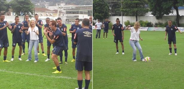 Entre Neymar e Ganso, Eliana participa de treino do Santos, na baixada santista (17/4/10)