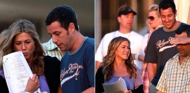 Os atores Jennifer Aniston e Adam Sandler passam o texto no set de filmagens do filme