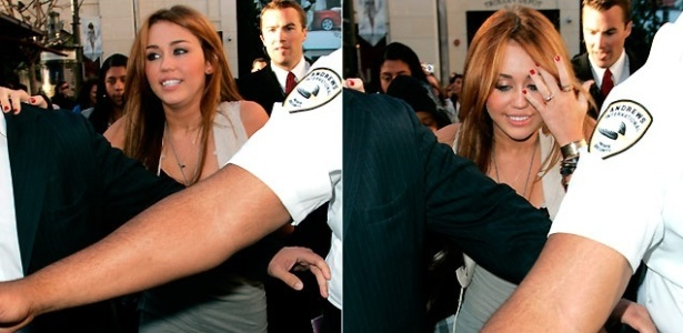A cantora Miley Cyrus deixa evento da Fundação Make a Wish com a ajuda de seguranças em Los Angeles (28/4/2010)