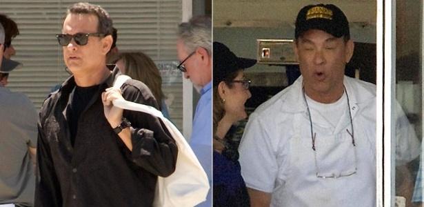 O ator Tom Hanks é fotografado de avental no set de