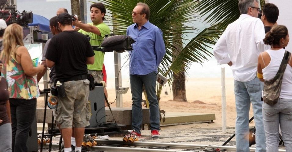Bruno de Luca e José Wilker gravam comercial no Rio de Janeiro (12/5/10)