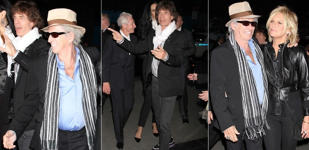 Os integrantes do Rolling Stone, Mick Jagger, Keith Richards (de chapu e acompanhado da mulher Patti Hansen) e Charlie Watts chegam  premire de 