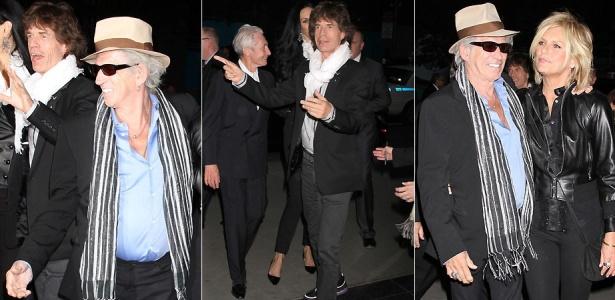 Os integrantes do Rolling Stone, Mick Jagger, Keith Richards (de chapéu e acompanhado da mulher Patti Hansen) e Charlie Watts chegam à première de