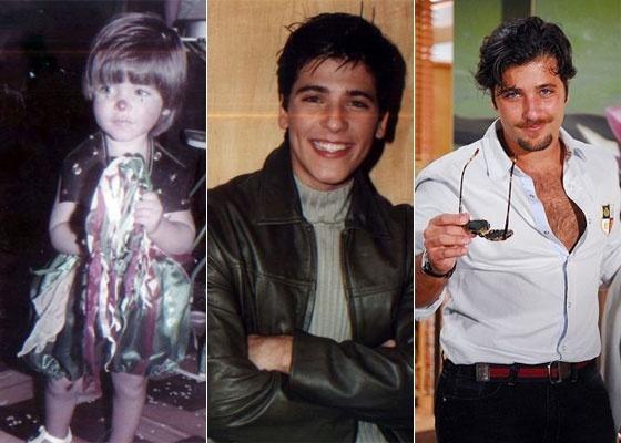 Bruno Gagliasso com dois anos, vestido de palhaço par ao Carnaval de 1984; aos 13, em 1995, posando como modelo e em 2010, como Berilo, personagem de
