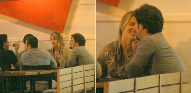 Bruno Gagliasso e Giovanna Ewbank jantam com amigos em um restaurante do Rio (03/07/2010)