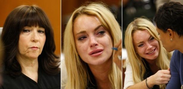 A atriz Lindsay Lohan chora ao escutar a sentença da juíza Marsha Revel (à esq.), durante audiência em Los Angeles (6/7/10)