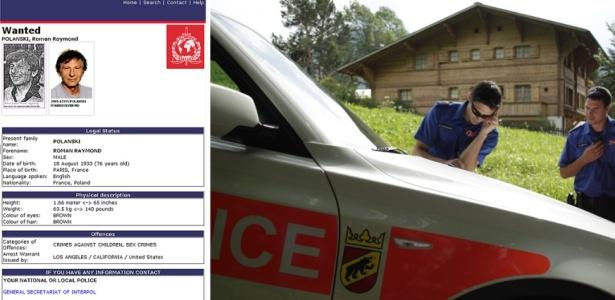 À direita, ficha do cineasta no site da Interpol; à esquerda, polícia estacionada diante do chalé de Gstaad, na Suíça, onde Polanski ficou durante sua prisão domiciliar (13/7/10)