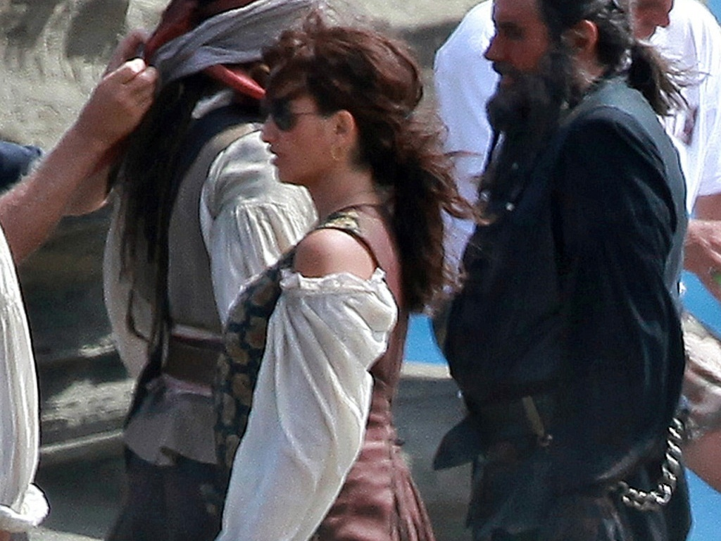 A atriz Penélope Cruz filmando
