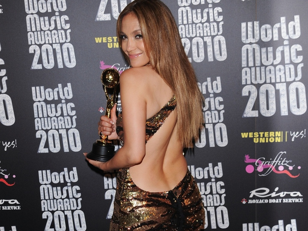 A cantora Jennifer Lopez no World Music Awards 2010 em Monte Carlo (18/5/2010)