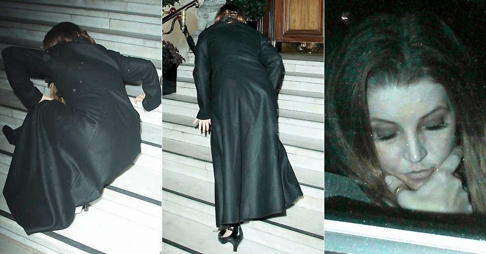 Lisa Marie Presley cai nas escadas de um hotel em Londres (7/9/2010)