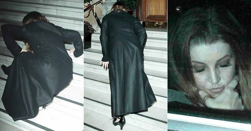 Lisa Marie Presley cai nas escadas de um hotel em Londres (7/9/2010)