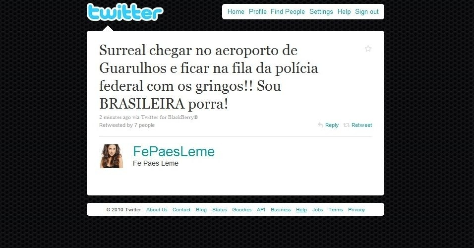 Twitter da atriz Fernanda Paes Leme (24/9/2010)