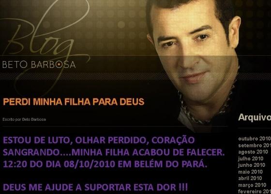 Mensagem do cantor Beto Barbosa em seu site oficial (8/10/2010)