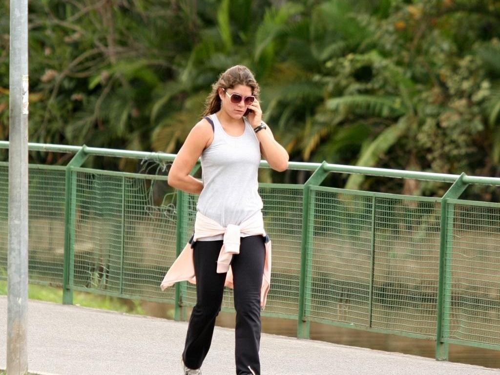 Priscila Fantin durante corrida na Lagoa, na zona sul do Rio (11/10/10)