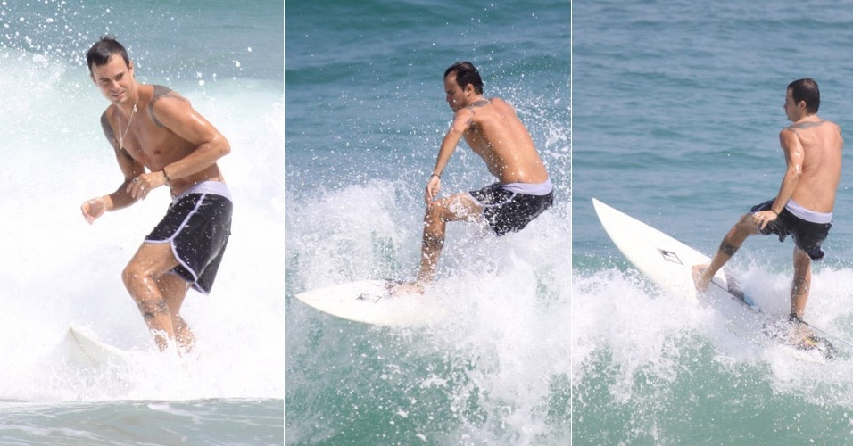 Paulinho Vilhena surfa na praia da Reserva, no Rio (29/10/2010)