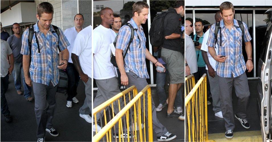 """O ator americano Paul Walker, que protagoniza a série """"Velozes e Furiosos"""" com Vin Diesel, chega ao Rio para participar de gravações na cidade (3/11/2010)"""