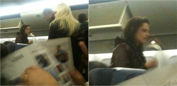 Kristen Stewart é fotografada por fã a bordo de voo para o Brasil (5/11/2010)