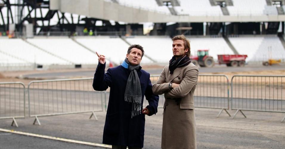 David Beckham visita estádio das Olímpiadas de 2012 em Londres (29/11/2010)
