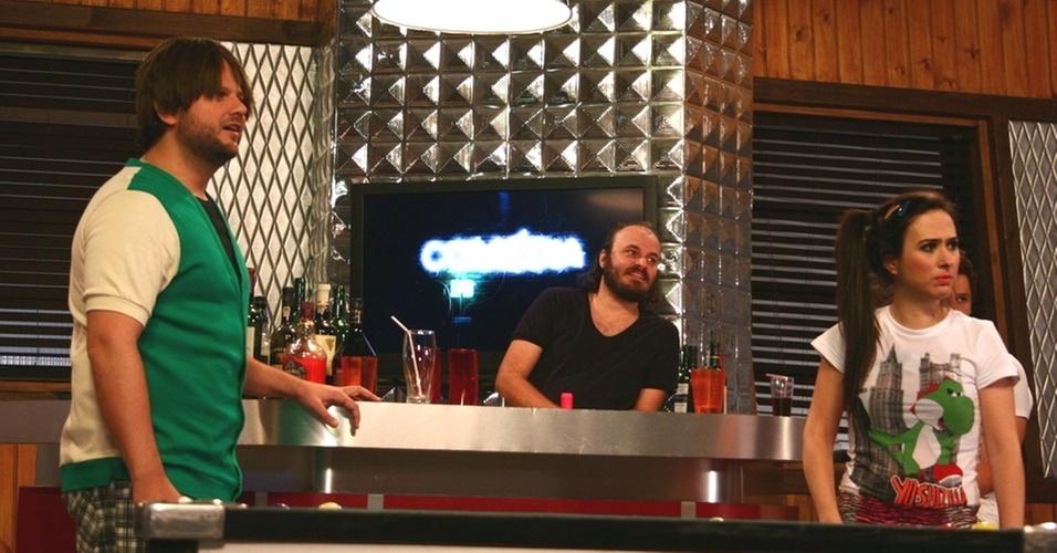 Selton Mello, Paulinho Serra e Tatá Werneck  durante gravação do programa