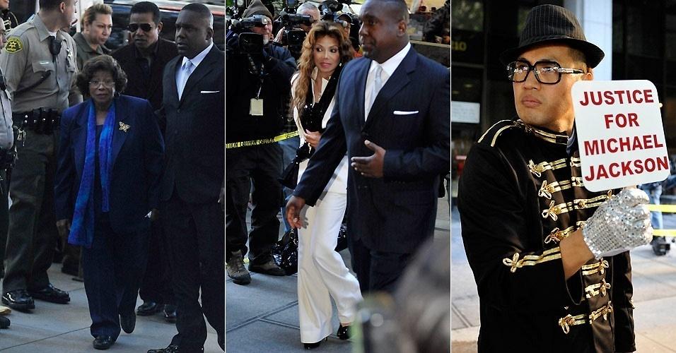 Katherine Jackson (esq.), Jermaine Jackson (de óculos escuros) e LaToya Jackson, mãe e irmãos de Michael Jackson, chegam a tribunal de Los Angeles para audiência preliminar do julgamento por homicídio contra o médico do cantor, Conrad Murray (4/1/2011)