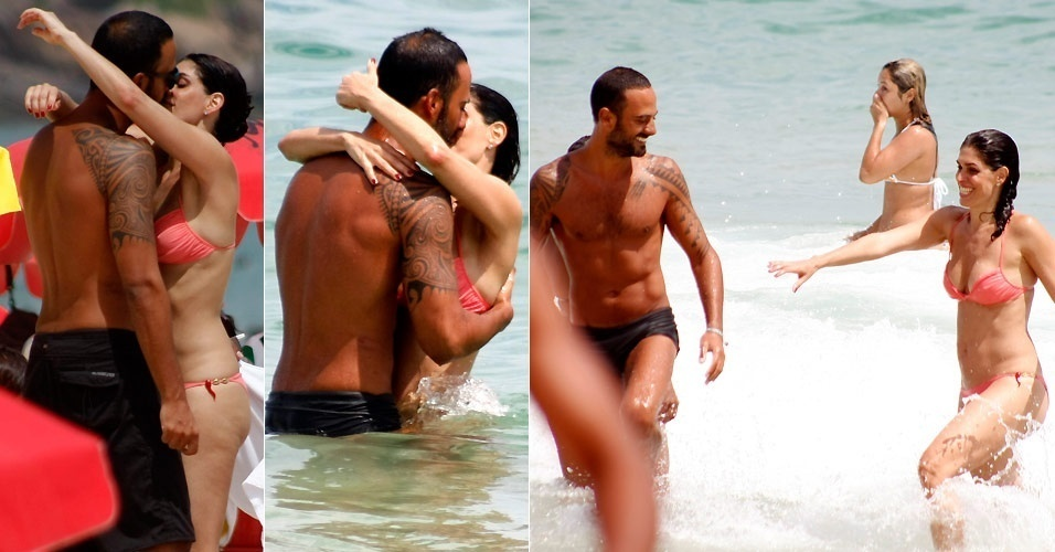 A produtora Paula Lavigne foi flagrada aos beijos com o suposto namorado, o médico Marcelo Marins, nas areias e no mar de Ipanema (10/1/2011)