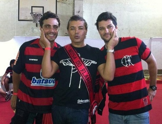 Thiago Rodrigues, David Brazil e Marcelo Serrado na sede do Flamengo, no Rio (12/1/11)