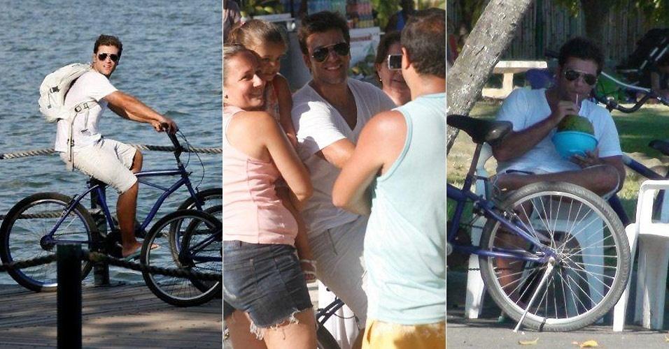 O ator Bruno Gagliasso aproveita o domingo de sol e anda de bicicleta pela Lagoa Rodrigo de Freitas, no Rio de Janeiro (23/1/201