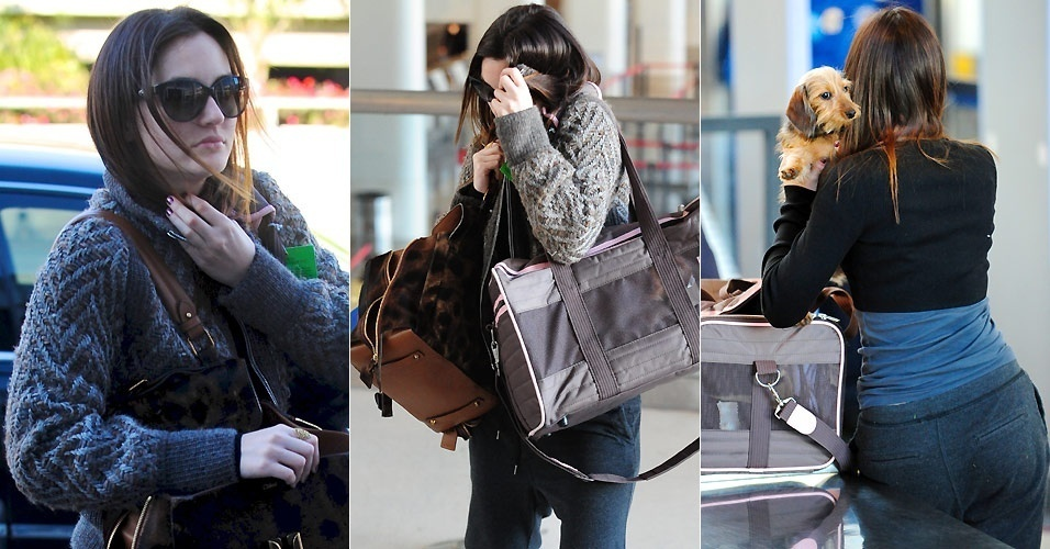 A atriz Leighton Meester se esconde de fotgrafo no aeroporto de Los Angeles (25/1/2011)