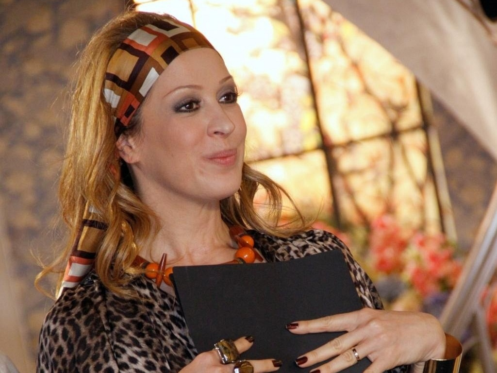 Claudia Raia durante gravação de