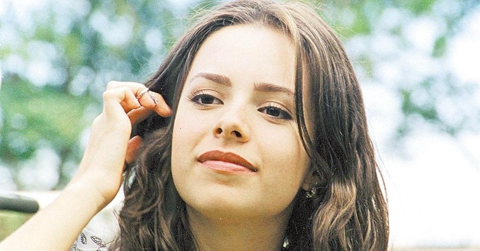 A cantora Sandy durante entrevista (23/10/2000)