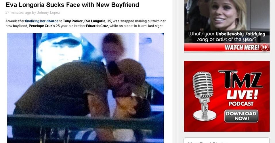 Eva Longoria e Eduardo Cruz, irmão de Penélope Cruz, se beijam durante passeio de barco em Miami (6/2/2011)