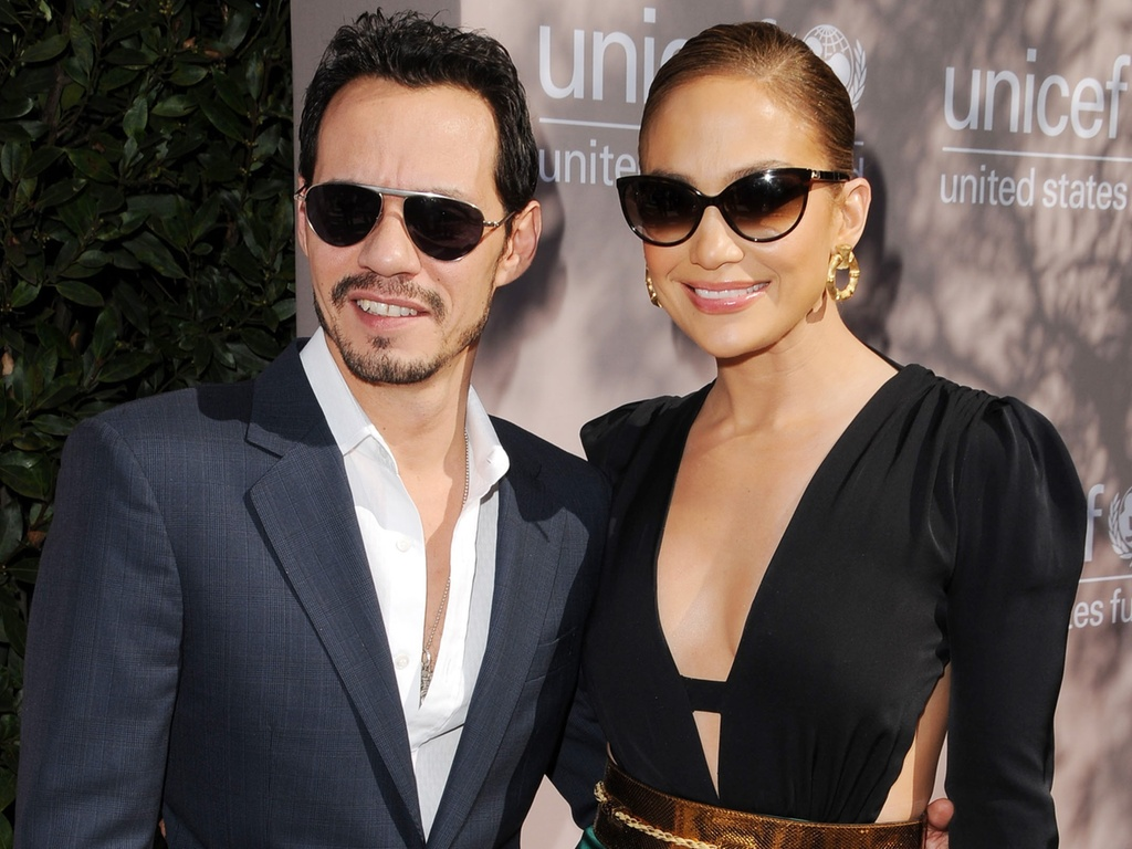 Marc Anthony e Jennifer Lopez vão a almoço beneficente do UNICEF em Los Angeles (11/02/2011)