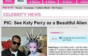 Site publica foto da cantora Kate Perry vestida como ET (16/2/2011)